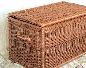 Handmade Wicker Trunk Handwoven Willow Trunk New Wicker Chest Toy Storage Wicker Storage Basket Bohemian Decor Wicker Side table & Storage trunk | Etsy