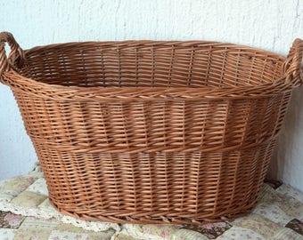 Large Wicker Laundry Basket, Big Laundry Basket, Handled Oval Basket, Oval  Laundry Basket, Large Storage Basket, Laundry Hamper, Log Basket