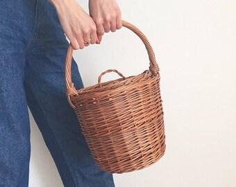 Jane Birkin Basket, Birkin Basket M, Round Wicker Basket with Lid, Medium Round Willow Basket, Round Basket Medium Basket Purse Basket Bag