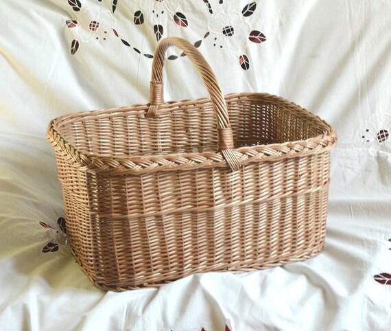 Large Wicker Basket Rectangular Basket Willow Basket Large | Etsy