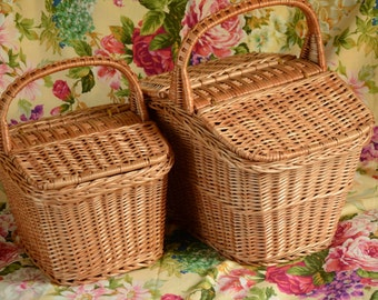 Handmade Wicker Picnic Basket, Handmade Willow Basket, Picnic Wicker Basket, Wicker Basket with Two Lids, Lidded Basket, Market Basket