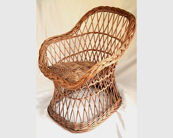 Wicker Kids Chair, Willow Child Chair, Kids Willow Chair, Handmade Kids Chair Small Wicker Chair Wicker Kids Furniture Bohemian Decor