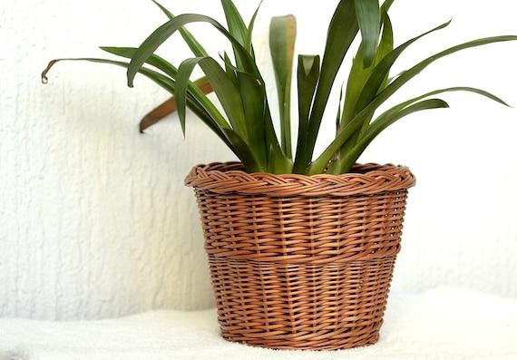 Rieten Manden Voor Planten.Rieten Plant Pot Mand Plant Pot Rieten Mand Planter Handgeweven Plant Pot Wicker Kleine Afvalemmer Rustieke Plant Pot Wicker Planter