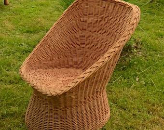 Handwoven Wicker Chair, Handmade Natural Willow Chair, Wicker Chair Wicker Patio Furniture Woven Willow Furniture, Mid Century Modern Chair