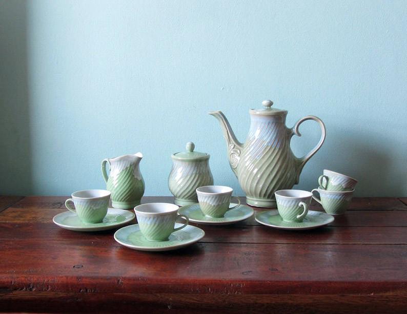 10a8364a06a Vintage 60er 70er Jahre Tee-Set Pastell Grün. | Etsy