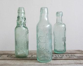 Antique mineral water glass bottles 3pcs, aqua blue drink bottles, vintage industrial home decor, movie or photography props, bud vase, gift