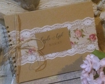 Goldbook for wedding in kraft vintage style shabby chic country