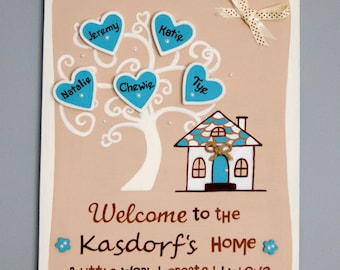 New Home. Housewarming gift. Family Plaque.Welcome to our home Sign. Personalised Present.Handmade sign with family names.Family tree Plaque