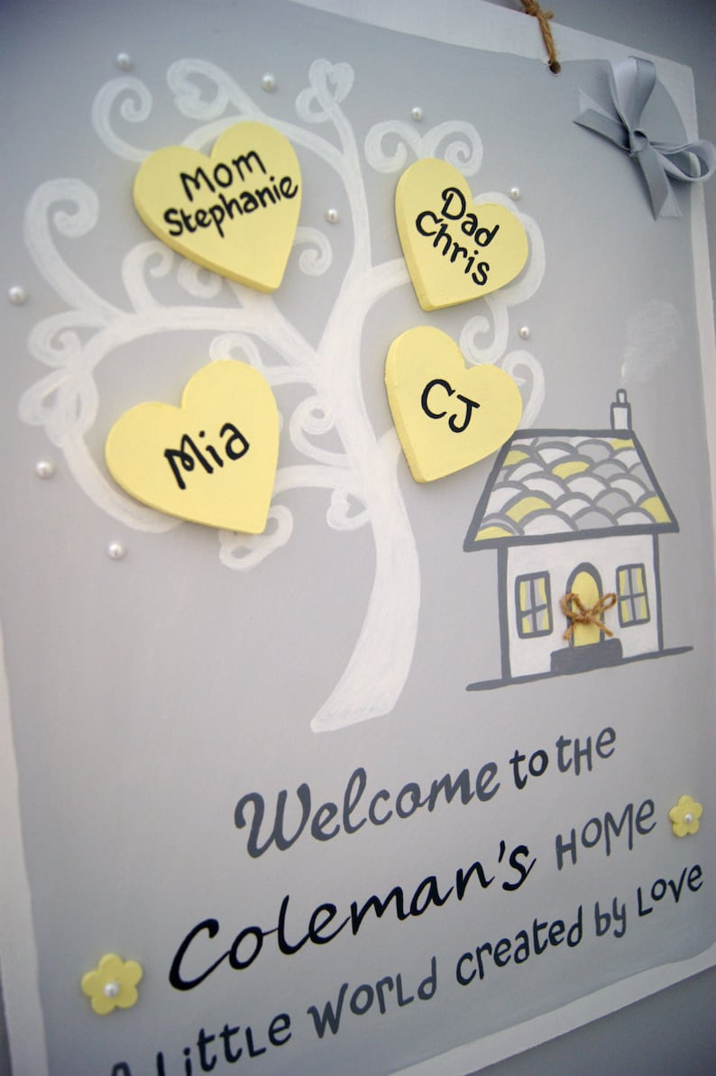 Mothers Day Gift for Mum Wife Personalised Gift Plaque House Warming Family Tree