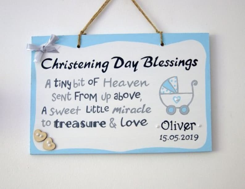 Personalised Christening Baptism Metal Plaque Gift Baby Boy Girl Keepsake