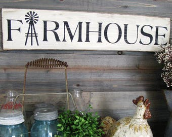 Farmhouse Wall Decor - Farmhouse Sign with Windmill - 24 inches x 5.5 inches - Wood Hand Painted  Farmhouse Sign - Farmhouse Wood Sign White