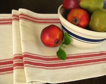 Farmhouse Table Runner - Grain sack Table Runner - Country Table Decor - Natural and Red Stripe Runner