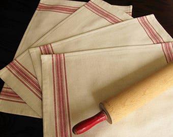 Farmhouse Grain Sack Placemats - Grainsack Placemats - Red Stripe and Light Tan