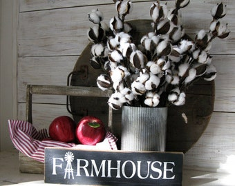 Cotton Branches - Cotton Bolls - Cotton Stems - Faux Cotton Ball Branch Stem - Farmhouse Decor
