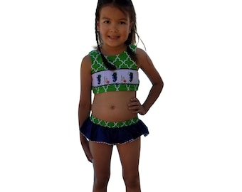 4741c55b29 Dana Kids Seahorse Hand Smocked Bikini   Swimsuit Girl Size 2T-6