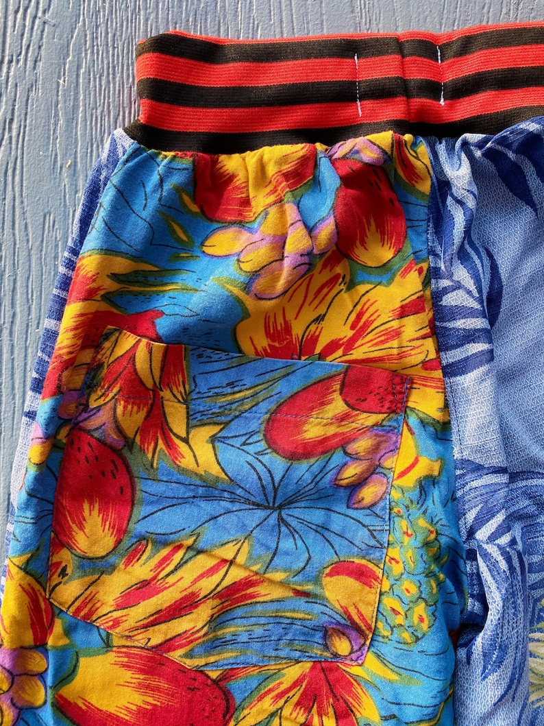 light easy beach wear upcycled Size 4-5 yrs kids summer pants sustainable fashion Hawaiian shirt unisex fun prints bright colors
