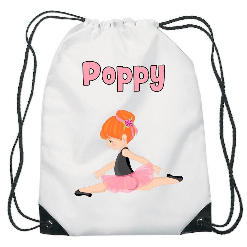 Personalised Pink Ballerina Dance Children/'s PE Pump School Kids Drawstring Bag