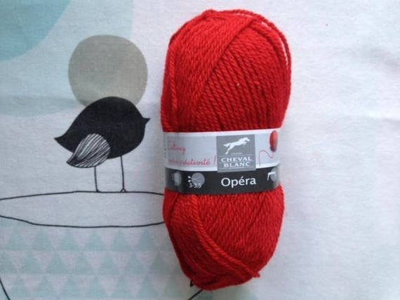 WOOL OPERA poppy - white horse