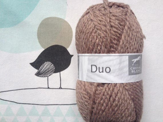 WOOL DUO Taupe - white horse