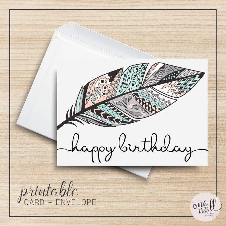 image relating to Printable Greeting Card Stock referred to as Joyful Birthday PRINTABLE Greeting Card, 5x7, Cardstock, Electronic Artwork, Feather, Tribal, Pastel, Typography, Instance, Envelope Template