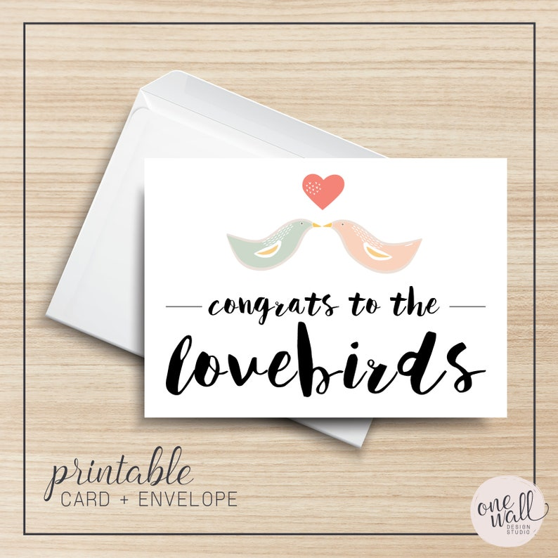Congrats to the Lovebirds PRINTABLE Greeting Card 5x7 image 0