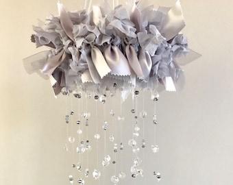 Silver Satin Nursery Mobile / Glass and Crystal Crib Mobile / Ribbon and Bead Mobile / Handmade Mobile / shabby chic / chandelier mobile