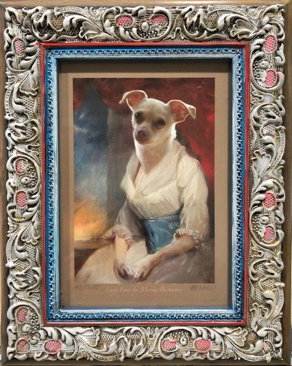 5x7\u201d Photo Print Painted Frame Lady Faun Chihuahua Faun as Antique British Portrait Chihuahua Art Parody Dog Art Print Mernie Buchanan