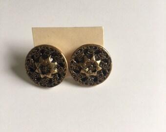 Vintage Brass Button Stud Earrings