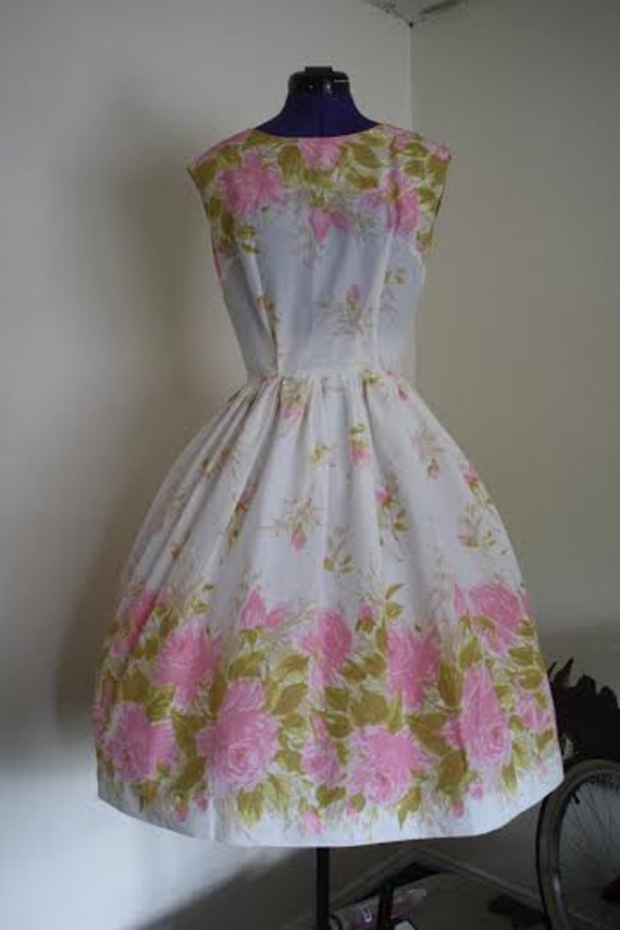Vintage Floral Tea Length Dress