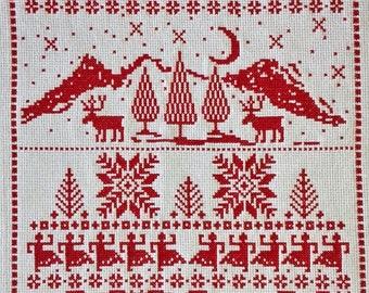 REINDEER CROSS STITCH, Redwork, Reindeer, Christmas, Holidays, Wall Art