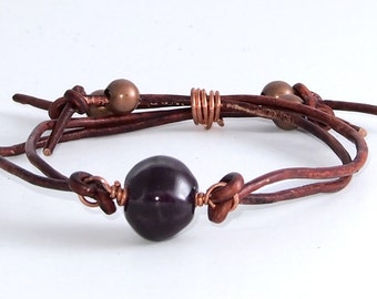 Purple and Copper Leather Bracelet
