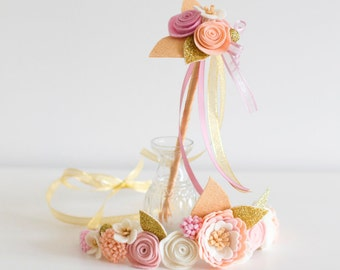 Flower girl floral crown with felt flowers in pink, blush, cream, pale apricot and gold PLUS matching flower girl wand
