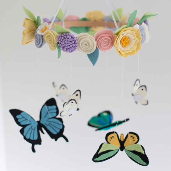 Felt Butterfly And Spring Flowers Baby Mobile In Soft Pastels Etsy