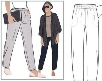Besharl Pant // Sizes 10, 12 & 14 // Style Arc PDF Sewing Pattern for a Women's Pant // Instant Download