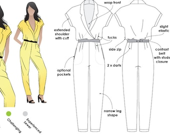 Eliane Woven Jumpsuit - Sizes 16, 18, 20 - PDF sewing pattern for printing at home by Style Arc / House of Pinheiro - Instant Download