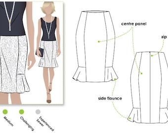 Etta Skirt - Sizes 16, 18 & 20 - PDF downloadable sewing pattern for printing at home