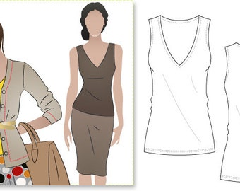 Women's Sewing Pattern - Diana Top - Sizes 18, 20, 22 - Singlet Top PDF Sewing Pattern by Style Arc