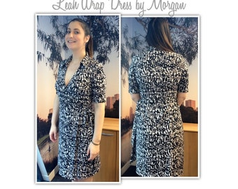 Lea Knit Wrap Dress Pattern - Sizes 10, 12 & 14 - PDF sewing pattern for immediate download