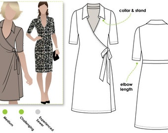 Lea Knit Wrap Dress - Sizes 4, 6 & 8 - PDF downloadable sewing pattern for printing at home