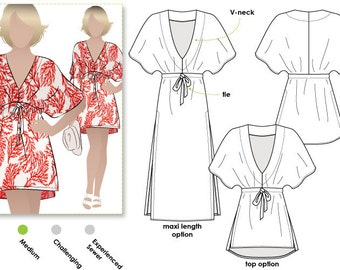 Summer Cover Up Dress / Sizes 8, 10, 12 / Women's Dress/Top Downloadable PDF Sewing Pattern by Style Arc / DIY clothing / Sewing Projects