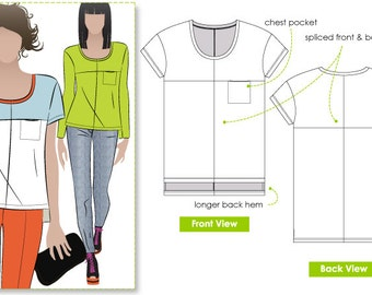Olive Spliced Tee - Sizes 4, 6, 8 - Women's Top PDF Sewing Pattern by Style Arc for Printing at Home
