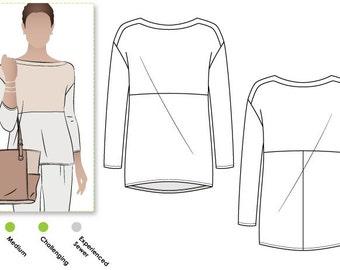 Melinda Knit Tunic - Sizes 10, 12, 14 - Women's Tunic Top PDF Sewing Pattern by Style Arc - Sewing Project - Digital Pattern