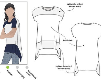 Maris Top - Sizes 10, 12, 14 - Women's panel Top PDF Sewing Pattern by Style Arc - Sewing Project - Digital Pattern