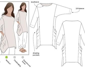 Kaye Tunic - Sizes 10, 12, 14 - Women's Tunic Top PDF Sewing Pattern by Style Arc - Sewing Project - Digital Pattern