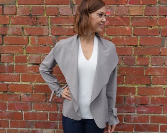 Style Arc Sewing Pattern - Meghan Jacket - Sizes 10, 12, 14 - Women's Waterfall Jacket - PDF Sewing Pattern