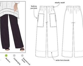 Daisy Designer Pant // Sizes 28 & 30 // PDF Women's Pant Sewing Pattern for Instant Download