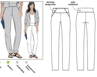 Beth Stretch Woven Pant - Sizes 12, 14, 16 - PDF Sewing Pattern by Style Arc - Print at Home Digital Pattern
