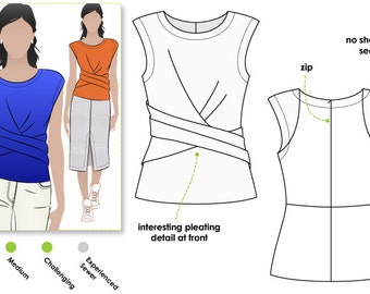 Madeleine Ponte Top - Sizes 10, 12, 14 - Pleat Top PDF Sewing Pattern by Style Arc - Sewing Project - Digital Pattern