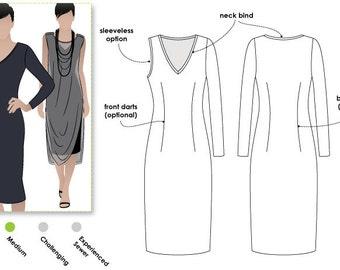 Cleo Knit Dress - Sizes 10, 12, 14 - Women's Jersey Dress PDF Sewing Pattern by Style Arc - Sewing Project - Digital Pattern