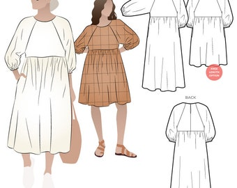 Hope Woven Dress - Sizes 10, 12, 14  - PDF patterns for printing at home by Style Arc  - No paper patterns will be posted